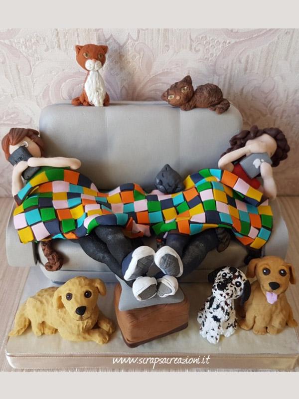 cake topper gay con cani e gatti