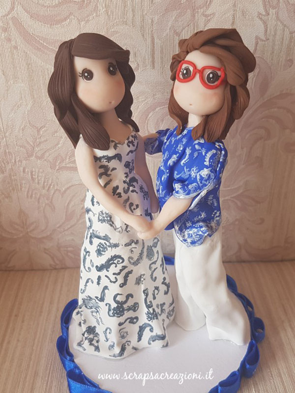 cake topper gay donna bianco e celeste
