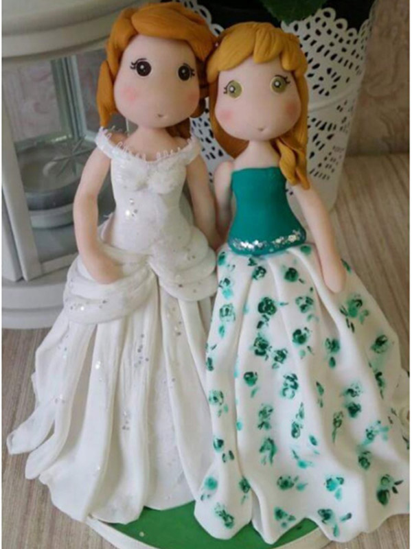 cake topper gay donna bianco e verde