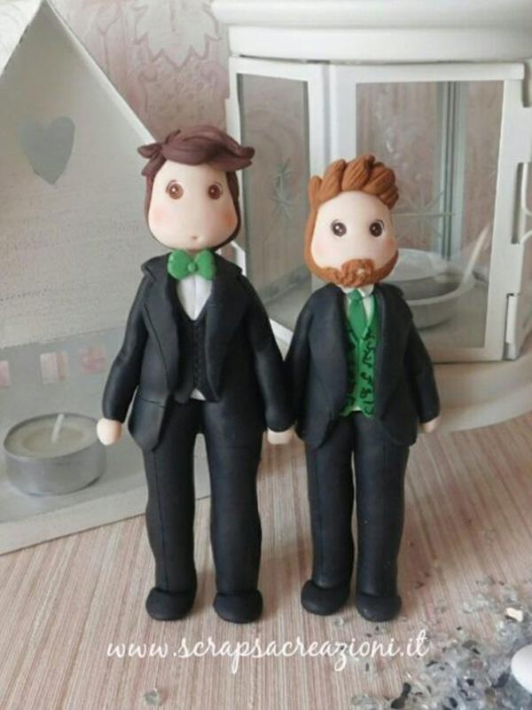statuine sposi gay uomo verde