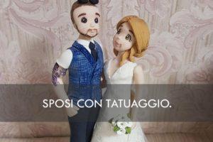 cake topper sposi con tatuaggio