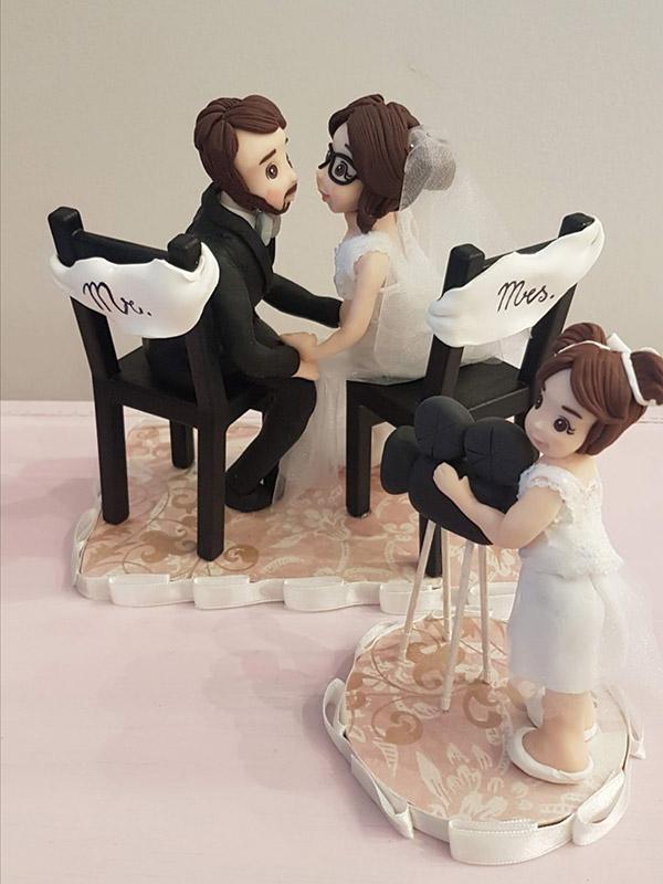 cake topper sposi con bambina