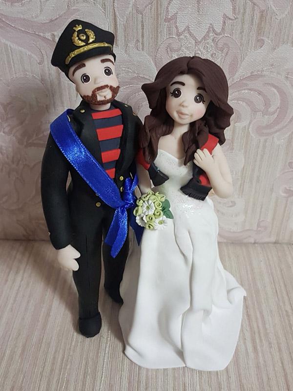 cake topper sposi personalizzato con divisa
