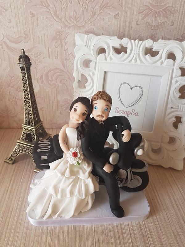 cake topper sposi personalizzato con moto