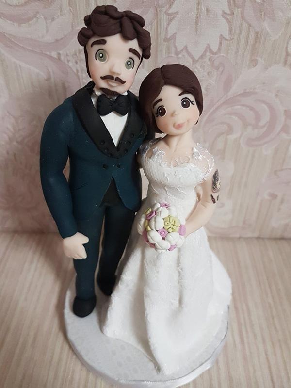 cake topper sposi personalizzato con tessuto