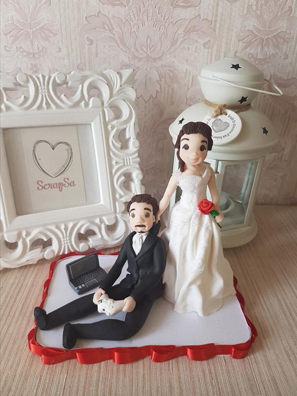 cake topper sposi personalizzato passione computer