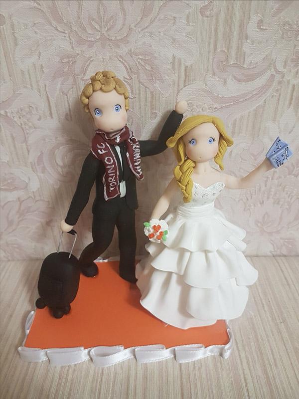 cake topper sposi personalizzato passione sport