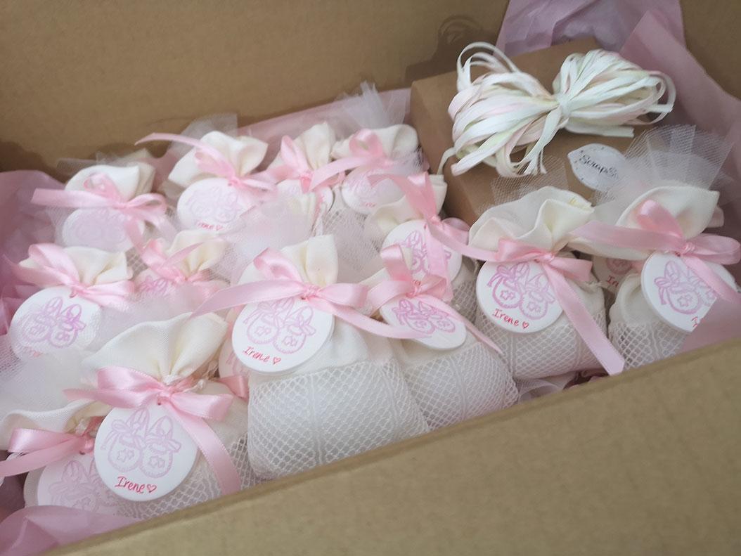 sacchettini nascita bimba con cake topper fatti a mano spedizione