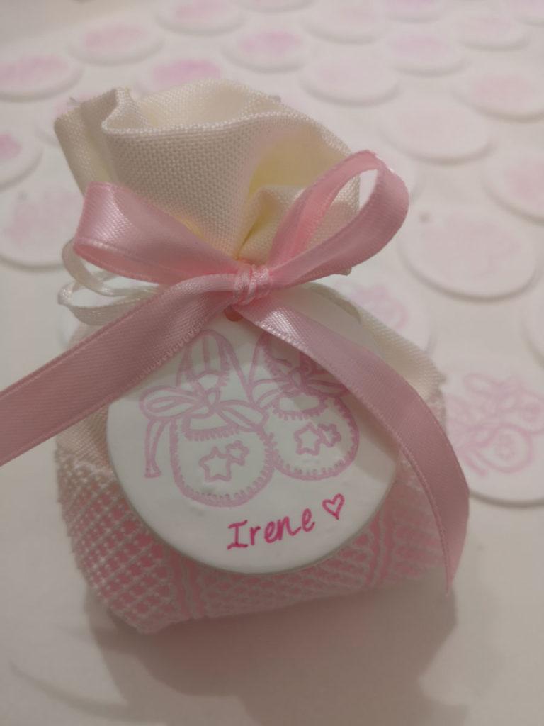 sacchetti nascita bimba rosa con chiudipacco calamita