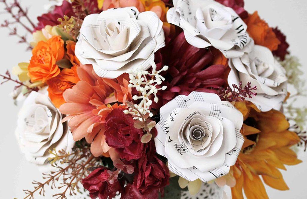 bouquet sposa alternativo carta musicale