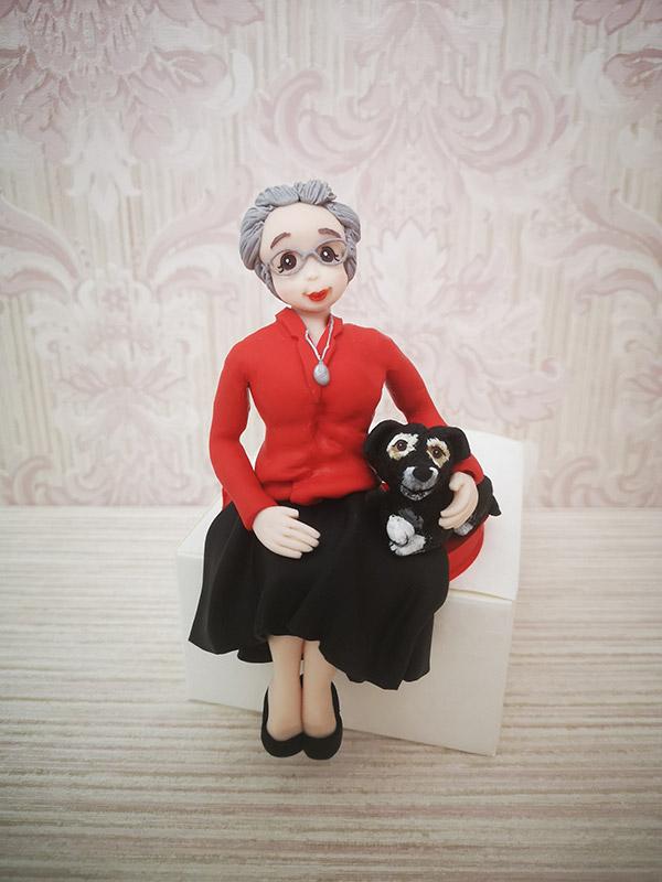 cake topper compleanno nonna con cane