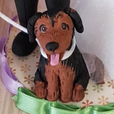 cake topper sposi realistico cane