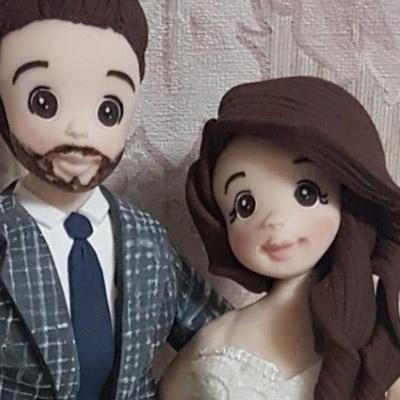 cake topper sposi realistico capelli viso