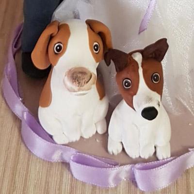 cake topper sposi stilizzati cane