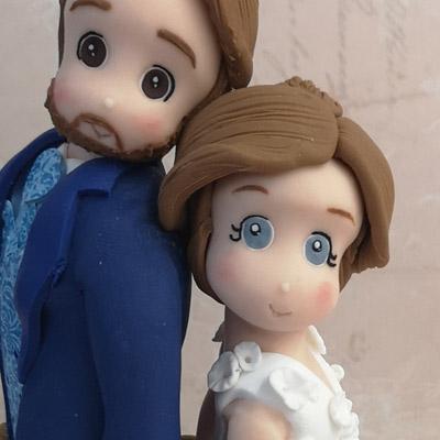 cake topper sposi stilizzati occhi naso