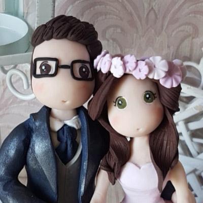 cake topper sposi stilizzati viso occhi