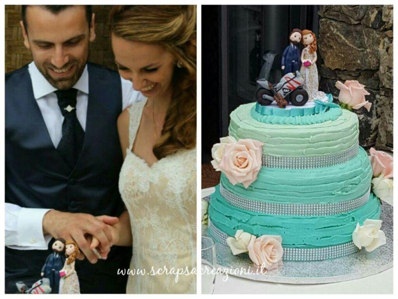 cake topper torta matrimonio verde tema mare