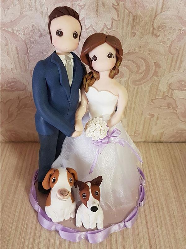 cake topper sposi con cane