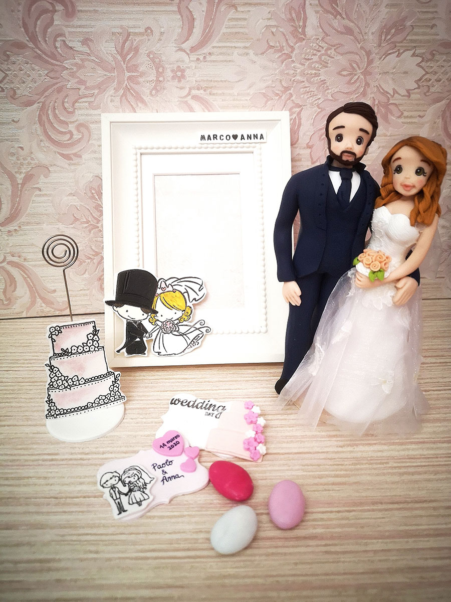 cake topper sposi personalizzato shabby moderno