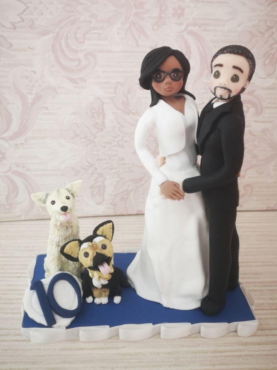 statuina sposi blu con cane