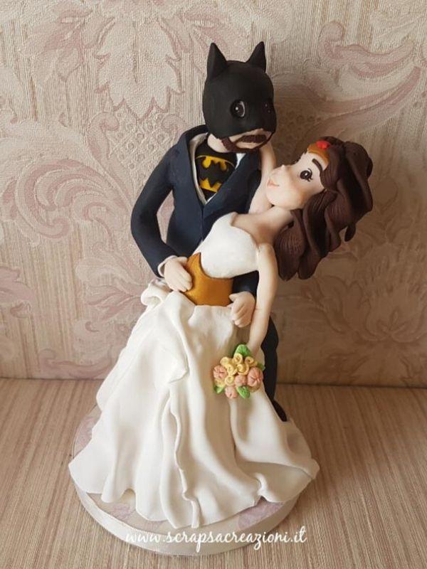 batman wonder woman sposini cake topper