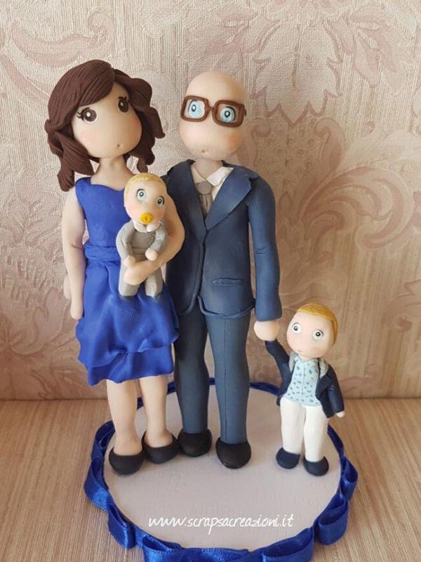 cake topper stilizzato battesimo famiglia
