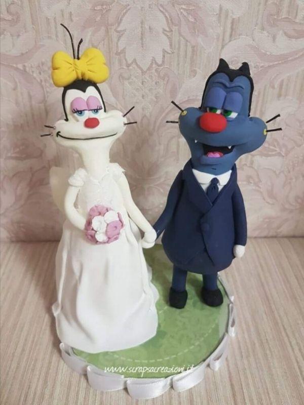 olivia oggy cake topper matrimonio spiritosi