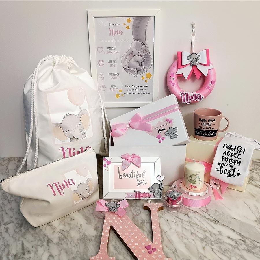 set nascita bambina personalizzato box dolce attesa